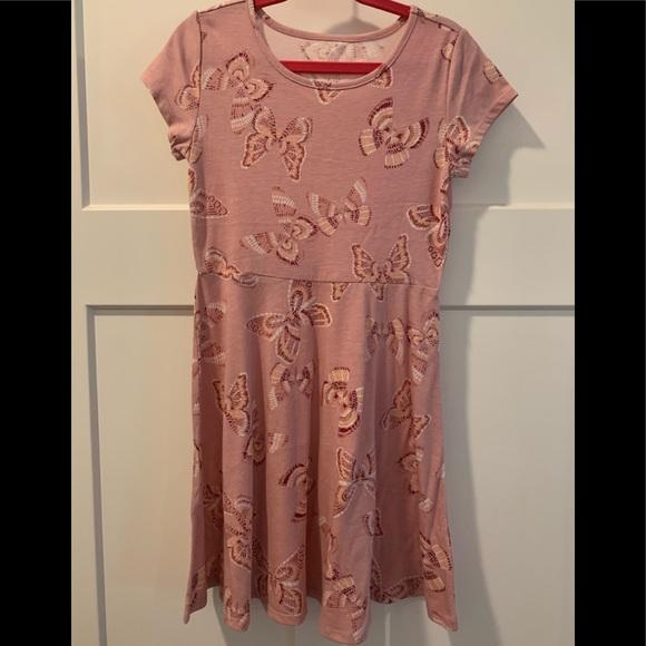 **Girls - Soft Pink Dress with Butterflies!**
